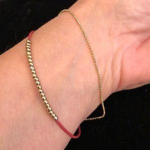 Merx Jewelry - Merx Red Cord with Gold Beads